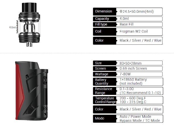 vaptio move 2 80 specifications