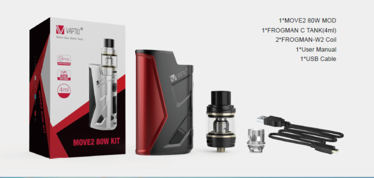 VAPTIO MOVE2 80W Kit Includes
